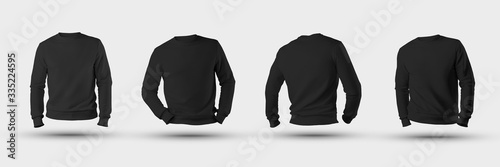 Fotografía Mockup blank male sweatshirt 3D rendering, front, back, isolated on a white background