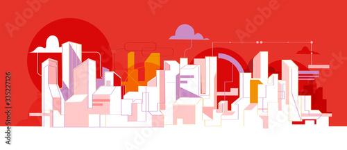 Skyline di una città moderna con grattacieli Canvas Print