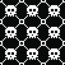 Seamless Pixel Art Monochrome Vector Pattern With White Sculls On Black Background. Gift Wrapping Paper, Interior, Cloth, Fabric Or Web Design.