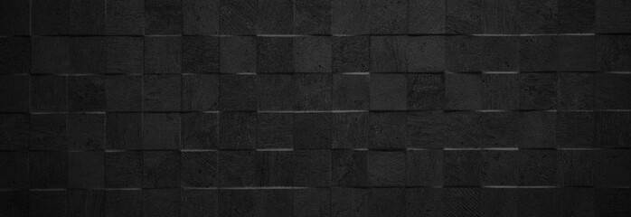 Black antharcite dark stone concrete cement texture with square cubes mosaic background panorama banner long