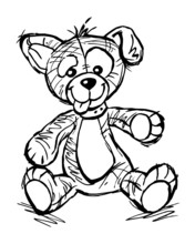 Cute Puppy Soft Toy Pet With Tongue Out Sitting And Waving For Greeting, Black And White Cartoon
