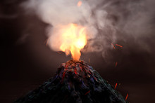 Volcano Eruption  With Magma, ...