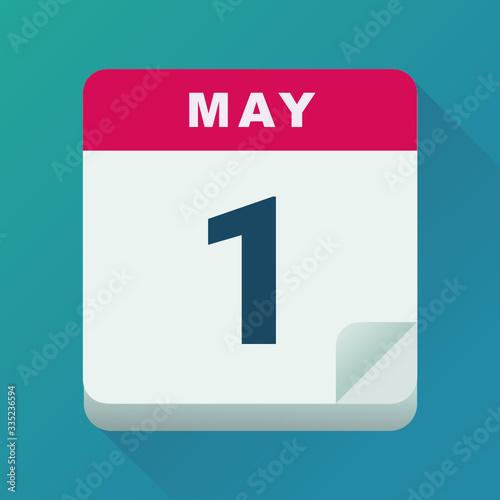 May 1, Labor Day calendar (flat design) Fototapete