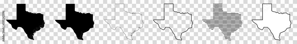 Fototapeta Texas Map Black | State Border | United States | US America | Transparent Isolated | Variations