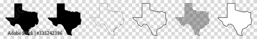 Obraz Texas Map Black | State Border | United States | US America | Transparent Isolated | Variations - fototapety do salonu