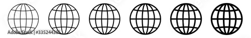 World Icon Black | Earth Illustration | Globe Symbol | Planet Logo | World Wide Web Sign | Isolated | Variations