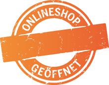 Siegel Orange Button Onlineshop Geöffnet Mit Freiraum Für Website