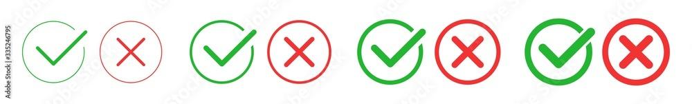 Fototapeta Check Mark Cross Circle Icon Green Red   Checkmark Checklist Illustration   Tick X Symbol   Voting Logo   Positive Negative Sign   Isolated   Variations