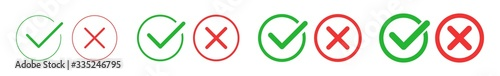 Fotografie, Obraz Check Mark Cross Circle Icon Green Red | Checkmark Checklist Illustration | Tick