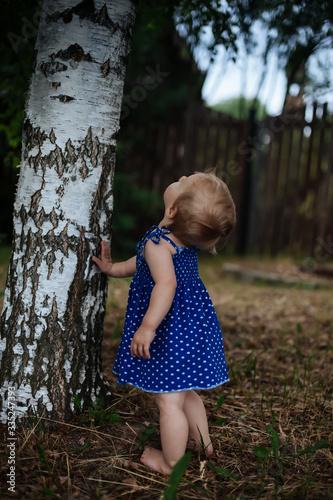 Fototapeta  Russian little baby near birch. obraz