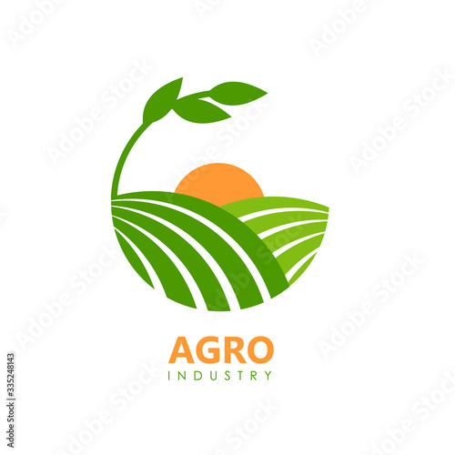 Green agro logo with fields and leaves. Canvas Print