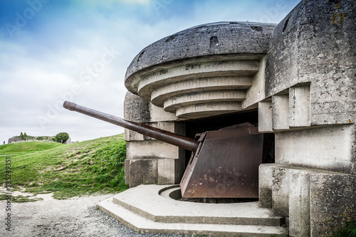 batterie de Longues-sur-Mer, canon de tir marine Canvas Print
