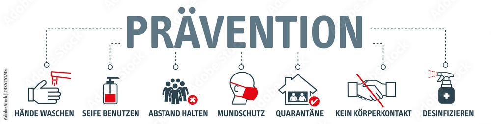 Fototapeta Prävention - Hygiene und Virusprävention - icons, Symbole und deutsche Schlüsselwörter