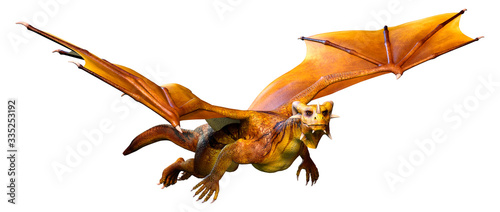 3D Rendering Fairy Tale Dragon on White Canvas