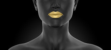 Young Woman Black Face Part, Front View With Golden Lips, Nose And Neck, Close Up  Photorealistic 3D Illustration, Isolated On The Black Background.