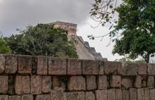 "Mayan Ruin ""Pyramid Of Kukulcan"" (the Sun Pyramid) And Wall With Symbols At Chichén-Itzá, Yucatan, Mexico, Withouth People"