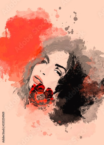 Fototapety, obrazy: Painting beautiful woman with flower. Watercolor painted portrait for background or fashion banner
