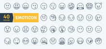 Emoticons Thin Line Pack. Vect...
