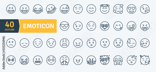 Emoticons Thin Line Pack. Vector scalable icons