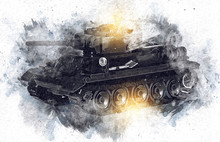 Vintage The Tank Isolated Draw...