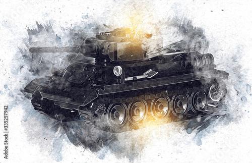 Fotografia vintage the tank isolated drawing sketch art illustration