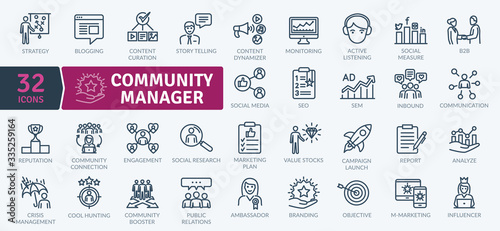 Photo Community Manager activities. Thin line Icon Pack. Vector symbols