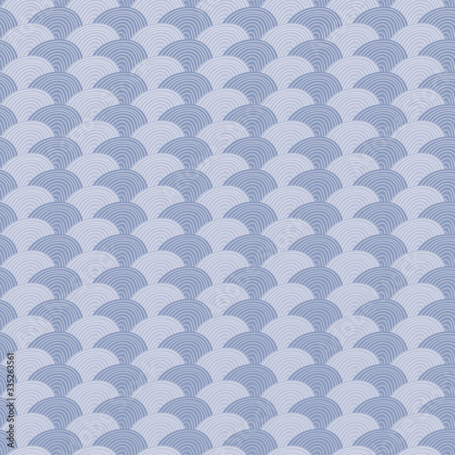 Fotografering Blue circles clamshell geometric seamless repeat pattern background