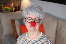 Senior Lady With Clown Nose