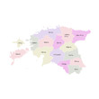 Vector illustration of administrative division map of Estonia. Vector map.