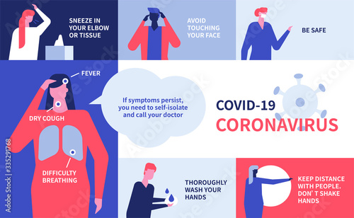 Coronavirus recommendations - colorful flat design style illustration Fototapet