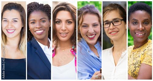 Happy multinational ladies portrait set Fototapeta