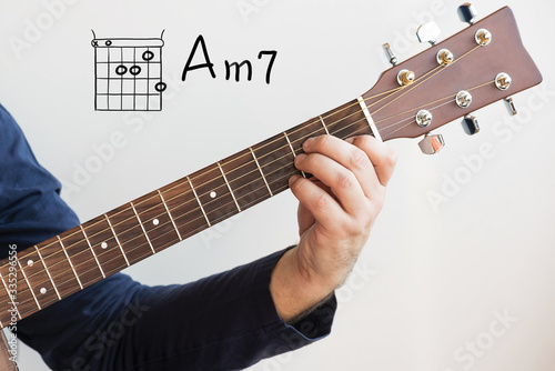 Obraz na plátne Learn Guitar - Man in a dark blue shirt playing guitar chords displayed on white