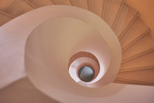 Looking Down In Modern Spiral Staircase