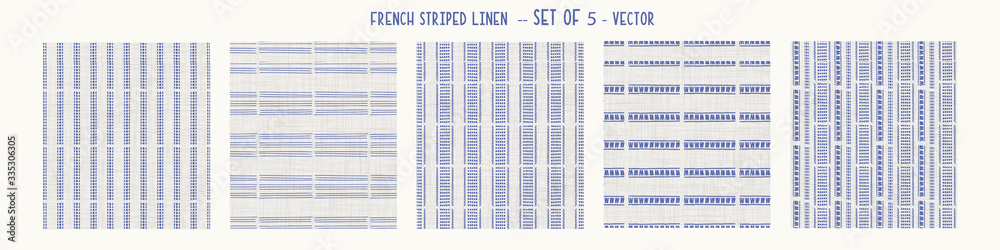 Fototapeta Seamless french farmhouse style woven linen stripe texture. Ecru flax blue hemp fiber. Natural pattern background. Organic yarn closeup weave fabric for kitchen towel material. Striped set of 5