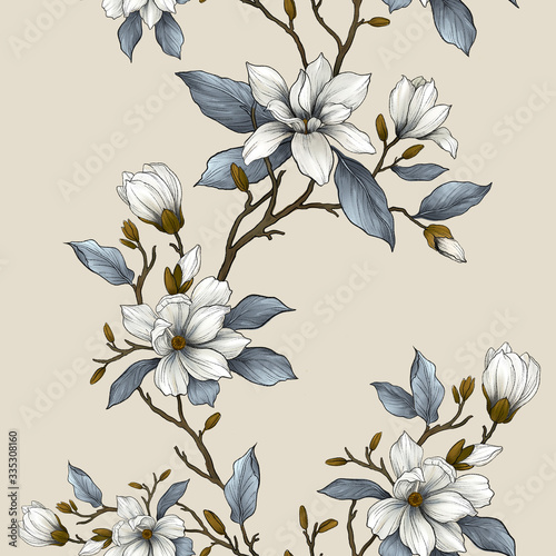 Fotografia Floral seamless pattern with blooming magnolia