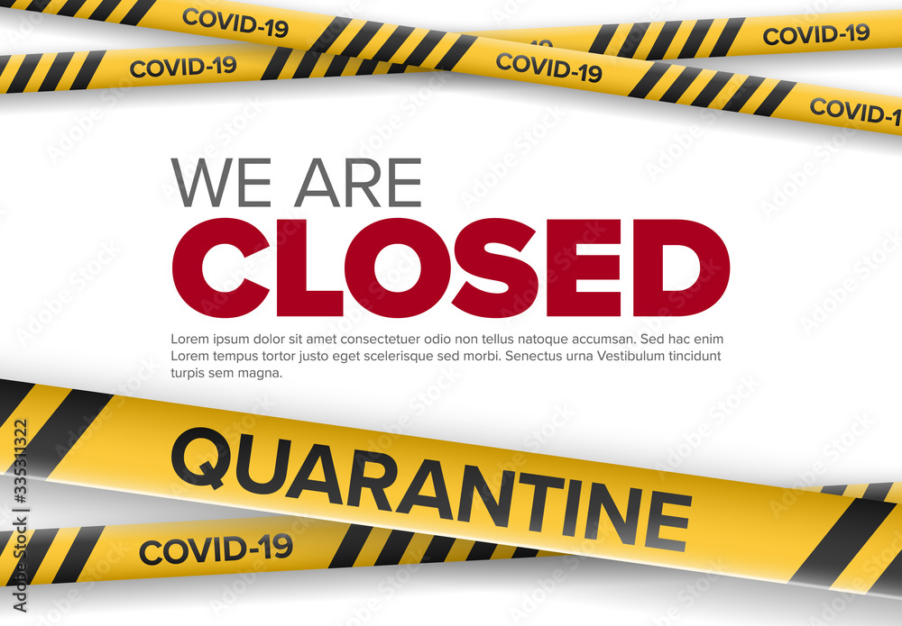 Fototapeta Shop closed flyer template with coronavirus information
