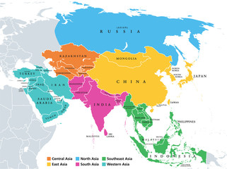 Main regions of Asia. Political map with single countries. Colored subregions of the Asian continent. Central, East, North, South, Southeast and Western Asia. English labeled. Illustration. Vector.
