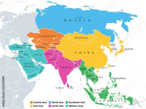 Fotomural Main regions of Asia