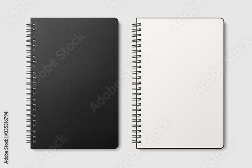 Photo Real photo, spiral bound notepad mockup template with black paper cover, isolated on light grey background