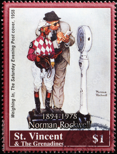 Jockey on the scale by Norman Rockwell on stamp Wallpaper Mural