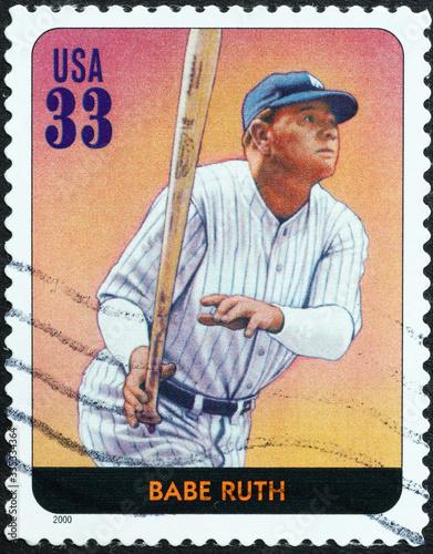 Photo Baseball legend Babe Ruth on american stamp