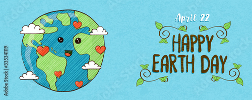 Photographie April 22 earth day banner of cute planet with love