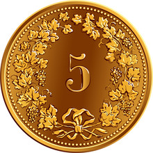 Reverse Of 5 Centimes Gold Coin Swiss Franc With 5 In Wreath Of Grapes, Official Coin In Switzerland And Liechtenstein