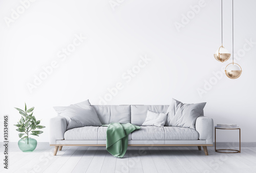 interior house with simple white background mock up. grey velvet sofa with green plaid on . modern space concept. 3d render. Illustration