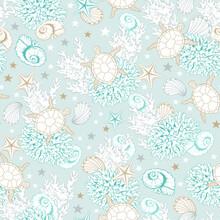 Ocean Seashells Pattern Backgr...