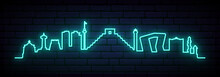 Blue Neon Skyline Of Cancun City. Bright Cancun Long Banner. Vector Illustration.