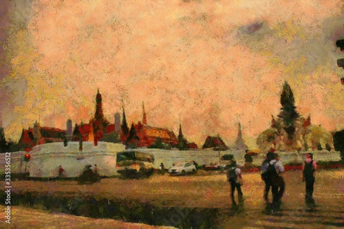 Fototapety, obrazy: The Grand Palace, Bangkok Illustrations creates an impressionist style of painting.
