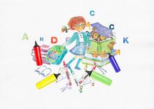 School Girl. Watercolor Design...