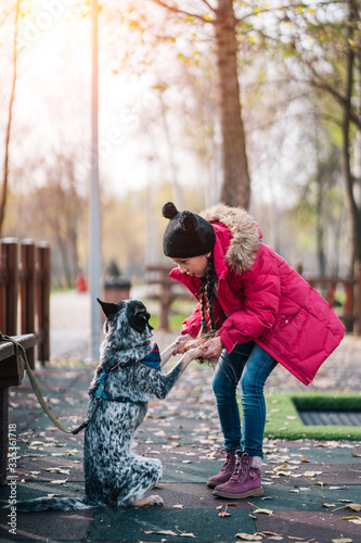 Girl child playing with dog in autumn sunny park, leaf fall Fototapete