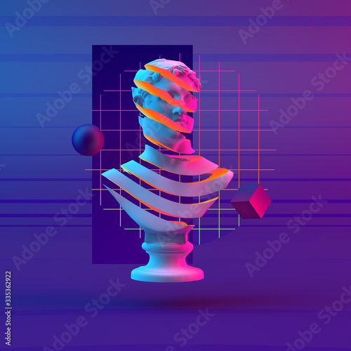 3d-illustration abstract composition of bust and primitive objects on violet bac Wallpaper Mural